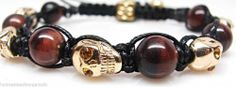 Men's Womens Swarovski Crystal Agate Beaded Shamballa Gold Skull Bracelet NEW #SY #Beaded