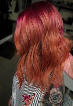 Copper Cabana Gorgeous Hair Color Ideas 2019 Yellow Hair, Red Hair Yellow Highlights, Purple Hair, Gorgeous Hair Color, Cool Hair Color, Hair Colors, Colours, Mommy Hairstyles, Cool Hairstyles