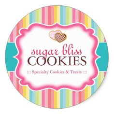 Cookie and Dessert - Packaging Stickers Cookie Packaging Stickers - Designed by Colourful Designs Inc. Logo Cookies, Dessert Packaging, Cookie Packaging, Logo Sticker, Sticker Design, Logo Dulce, Bakery Business Cards, Packaging Stickers, Bakery Logo
