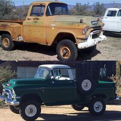 Repost from @napco4wd 1956 GMC 1/2 ton Napco, before and after. #Napco #gmc #vintage4x4 #offroadaction