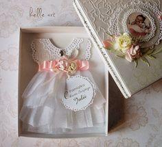 kartka sukienka chrzest, dress card scrapbooking, baptism handmade