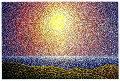Radiant Light, High Noon, Big Sur by Father Arthur Poukin Eugene Peterson, Holy Saturday, High Noon, Pointillism, Dot Painting, Big Sur, Watercolor Landscape, Father, Paintings