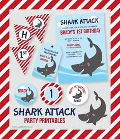 Custom Shark Attack Printable Party