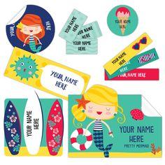 Étiquettes personnalisées autocollantes SIRÈNES dessinées et produites à Québec par la compagnie CLÉMENT. Paquet de 150. Livraison gratuite partout au Canada.  MERMAID Peel-n-Stick Name Labels