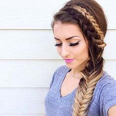 Dutch braids and a side fishtail from vickymanzhosov. source