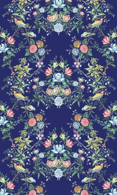 A group inspired by traditional floral wallpaper and textile design, and folk style. Textile Prints, Textile Patterns, Textile Design, Print Patterns, Design Art, Textiles, Deco Floral, Motif Floral, Floral Prints