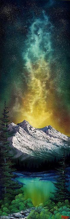 """Milky Way Mountain"" oil 12x36 inch canvas http://ift.tt/2GTOIqX"