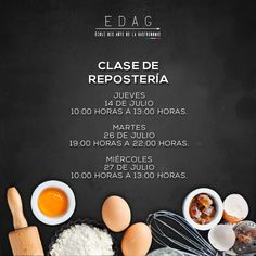 Ven con nosotros y aprende a cocinar la parte favorita de muchos… el postre  Más información en:  info@edag.edu.mx  o a los teléfonos 4161-0797/0798 ext. 406 ó 407