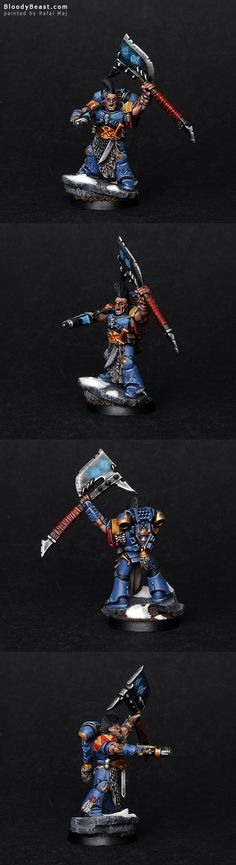 I was requested of making Space Wolves Rune Priest in Runic Armor and Power Axe. I've painted glowing runes on armor and axe to make a model stands out better.