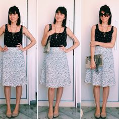 midi skirt, dior new look, mix and match, prints, flats, nude