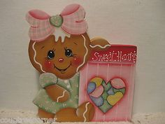 HP Gingerbread sweet hearts Valentines candy shelf sitter hand painted