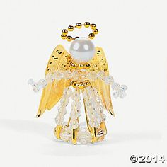 homemade angel crafts from safety pens and beads | Beaded Safety Pin Angel Ornament Craft Kit