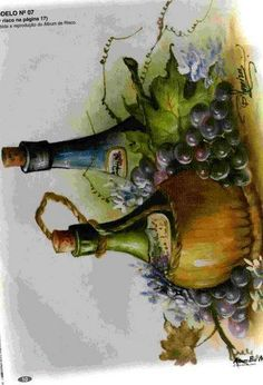 pintura007a20em20tecido Fruit Painting, Wood Painting Art, Fabric Painting, Watercolor Paintings, Arte Pallet, Pallet Art, Wine Art, Fruit Art, Painting Techniques