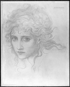 """Head of a Young Woman (Study for """"The Hesperides""""?)   Harvard Art Museums   Edward Burne-Jones"""