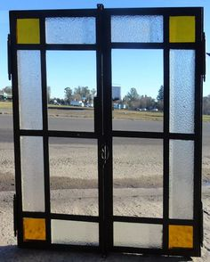 ventana 2 hojas mampara antigua hierro reciclada . art. 4378