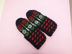 Hand Knit Slippers  House Shoes Handmade Home Slippers by nesel, $18.75