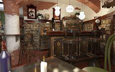 Cafenea Chateau de France - Design interior in stil vinoteca - Studio inSIGN Chandelier, Restaurant, Ceiling Lights, Rustic, Studio, Lighting, France, Design, Home Decor