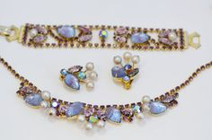 Purple Rhinestone, Art Glass and Pearl WEISS Parure Set