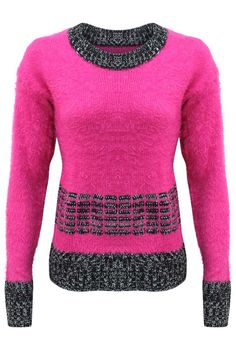 7363ca959565 Fuzzy Sweater With Contrasting Pattern – Luxury Divas Pink Fuzzy Sweater,  Pink Long Sleeve Tops