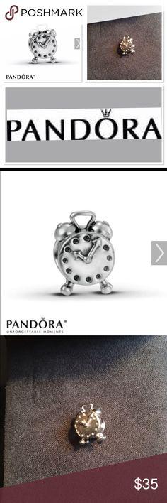 Discontinued Pandora Alarm Clock Charm Sterling Silver Pandora alarm clock Charm Pandora Jewelry Bracelets