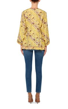 Silk Printed Yellow Peplum Top by ISABEL MARANT Now Available on Moda Operandi