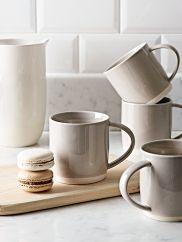 NEW Four Dip Glaze Mugs - Grey