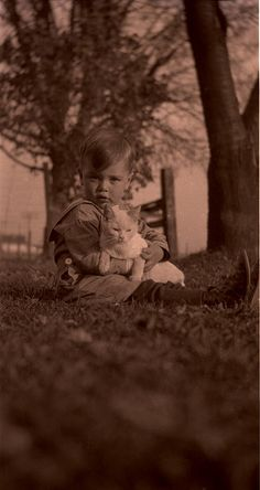 Vintage Photo:  A little boy and his kitty