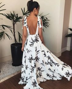 Women Spaghetti Strap Empire Floral Print Dress V-Neck Sexy Sleeveless Backless Long A-Line Dress Bohemian Party Dresses Sexy Dresses, Cute Dresses, Beautiful Dresses, Evening Dresses, Casual Dresses, Fashion Dresses, Summer Dresses, Fashion Vestidos, Backless Maxi Dresses