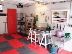 A rundown garage was transformed into a workshop and gardening spot. It costs the homeowners a few thousand to upgrade the electric, replaster the walls, install new rubber flooing and add a new garage door. They shopped flea markets and were able to get work tables, shelving and a cupboard for just $320.