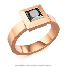 Black Diamond Red Gold Ring at Colors of Eden
