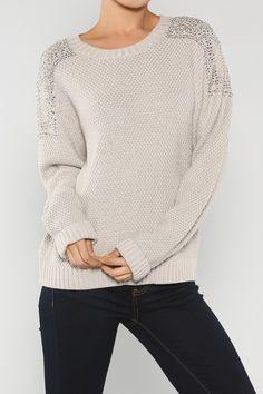 Rhinestone Acrylic Sweater #wholesale #fall #cardigan #sweater #pants #jacket #sweater #fashion #clothing #ootd #wiwt #shopitrightnow #metallic