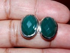 92.5 Solid Sterling Silver Green Onyx Earring / Faceted Oval