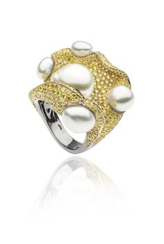 AUTORE Coral Ring  18k Black Gold with Yellow Diamonds and South Sea Keshi pearls  JR14080002