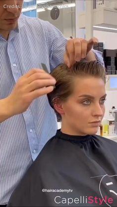 Hair Cutting Videos, Hair Cutting Techniques, Hair Videos, Point Cut Hair, Cut My Hair, Shirt Hair Cuts, Hair Cut Guide, Hair Curling Tips, Hair Movie
