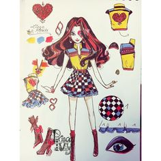 """and we are done ❤️ the """"no name but in my mind a season 2 and i still should find a name"""" fashion collection is over :D and here is the fashion queen herself #lizziehearts ❤️❤️❤️#characterdesign #topsyturvywonderland #art#illustration #princeivy #fashion#traditionalart#everafterhigh"""