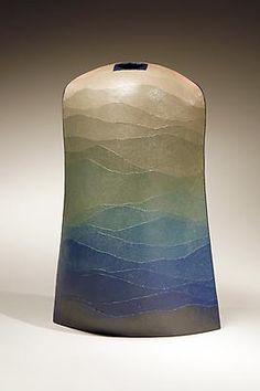 Tribute to Miyashita Zenji  (1939 - 2012)  Hijyō no Kaze (Bountiful Wind)  2006  Stoneware and colored clay overlays  15 3/8 x 5 x 13 3/4 inches