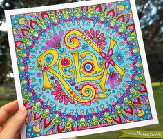 """""""Relax"""" from Thaneeya McArdle's Live for Today Coloring Book, colored with Copic Sketch Markers and Uni-Posca Paint Pens  https://www.amazon.com/Live-Today-Coloring-Book-Fun/dp/1497202051/ref=as_li_ss_tl?ie=UTF8&psc=1&refRID=SSRTYATCVV7W95DM9MNR&linkCode=ll1&tag=arisfu-20&linkId=0a578d6b2347397243c60aa6d5d626ab"""