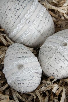 Easter ~ Eggs (artificial) Decoupaged with script and detailed with lace - (from Jeanne d'Arc Livíng blog)