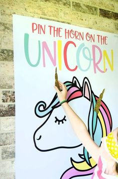 girls birthday party- girls birthday party How to Cut & Print with Cricut Explore Air & the new Cricut Design Space by MichaelsMakers Lindi Haws of Love The Day. Pin the Horn on the Unicorn party idea - Rainbow Unicorn Party, Unicorn Themed Birthday Party, Rainbow Birthday, Unicorn Birthday Parties, First Birthday Parties, Birthday Ideas, Cake Rainbow, Birthday Games, Unicorn Birthday Decorations