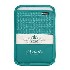 Elegant Teal White Fleur de Lis iPad Mini Sleeve #fleurdelis #teal #ipadminicase