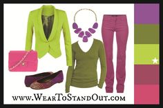 Dress yourself in Tender Shoots using a Split Complementary color scheme.