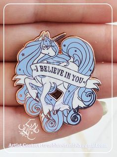 Hi there everyone! ★ This listing is for x1 Hard Enamel Pin of my I Believe In You ( Unicorn ) design in BLUE~<3 ★ Pin measures about 1.5x1.25 inches and has copper metal~ ★ This pin has x2 anchors in the back and x2 blue rubber backs for a secure hold~ ★ Pin will be packaged in a