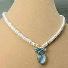 vintage aquamarine glass, swarovski crystal and white freshwater pearl necklace on sale at Weekend Jewelry