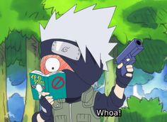 Kakashi Why has he a gun? Naruto Kakashi, Anime Naruto, Naruto Teams, Naruto Cute, Gaara, Manga Anime, Boruto, Naruto Shippuden, Shikatema