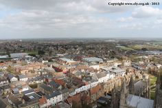 Looking down over Ely from the Great West Tower of Ely Cathedral.