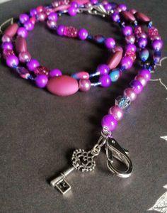 "Beaded lanyard ID badge holder ""Key to my secret sunset"" by Acacia Bella on Etsy, $27.00"