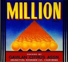 Arlington Million Orange Citrus Fruit Crate Box Label Art Print