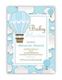 Airballoon Baby Shower invitation by glitterinvitescy on Etsy