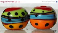 ON SALE 20% OFF Salsa Spheres 2 red, green, blue and orange handmade glass beads by Beadfairy Lampwork, Sra