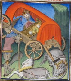 Darius III, wounded and imprisoned in a cart (chariot). Boccaccio, Des cas des nobles hommes et femmes, c. 1410 (Paris). BGE Ms. fr. 190/1, fol. 139r. Bibliothèque de Genève, Geneva